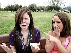 Two Bitches get surprised by massive cum shot.